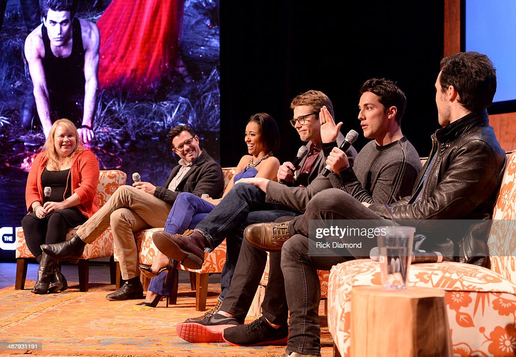 Writer/producer Julie Plec, director of photogrpahy Darren Ganet, actors Kat Graham, Zach Roerig, Michael Trevino, and Michael Malarkey speak on the panel at the Prime-time Series Screening: The CW Presents 'The Vampire Diaries' at SCADshow Main Stage on February 8, 2014 in Atlanta, Georgia.