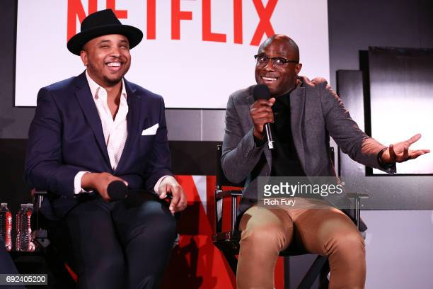 Writer/producer Justin Simien and director Barry Jenkins speak on stage during Netflix's 'Dear White People' For Your Consideration Event at Netflix...