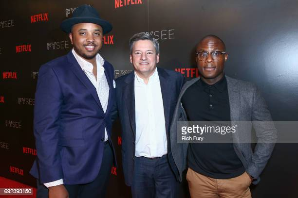 Writer/producer Justin Simien Netflix Chief Content Officer Ted Sarandos and director Barry Jenkins attend Netflix's 'Dear White People' For Your...
