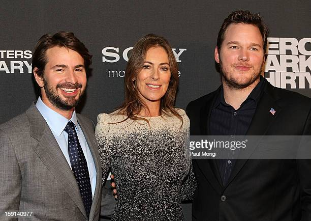 Writer/Producer Mark Boal Director/Producer Kathryn Bigelow and actor Chris Pratt pose for a photo on the red carpet at the Zero Dark Thirty...