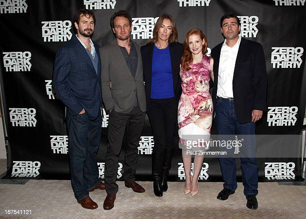 Writer/producer Mark Boal Jason Clarke director Kathryn Bigelow Jessica Chastain and Kyle Chandler attend Zero Dark Thirty photo call at Ritz Carlton...