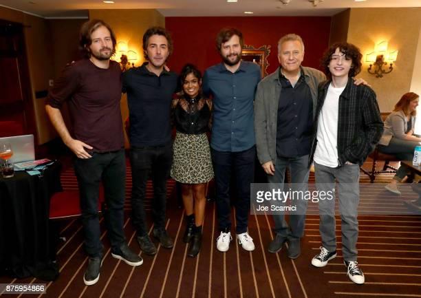 Writer/producer Matt Duffer producer Shawn Levy actor Linnea Berthelsen writer/producer Ross Duffer actor Paul Reiser and actor Finn Wolfhard attend...