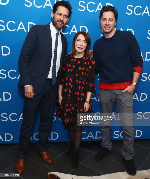 Writer/producer Matt Tarses SCAD President and founder Paula Wallace and actor Zach Braff attend a screening and QA for 'Alex Inc' on Day 2 of the...