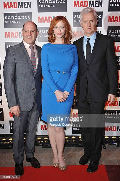 Writer/Producer Matthew Weiner actors Christina Hendricks and John Slattery arrive at the Sundance Channel Mad Men Gala Event at Hotel Royal Monceau...