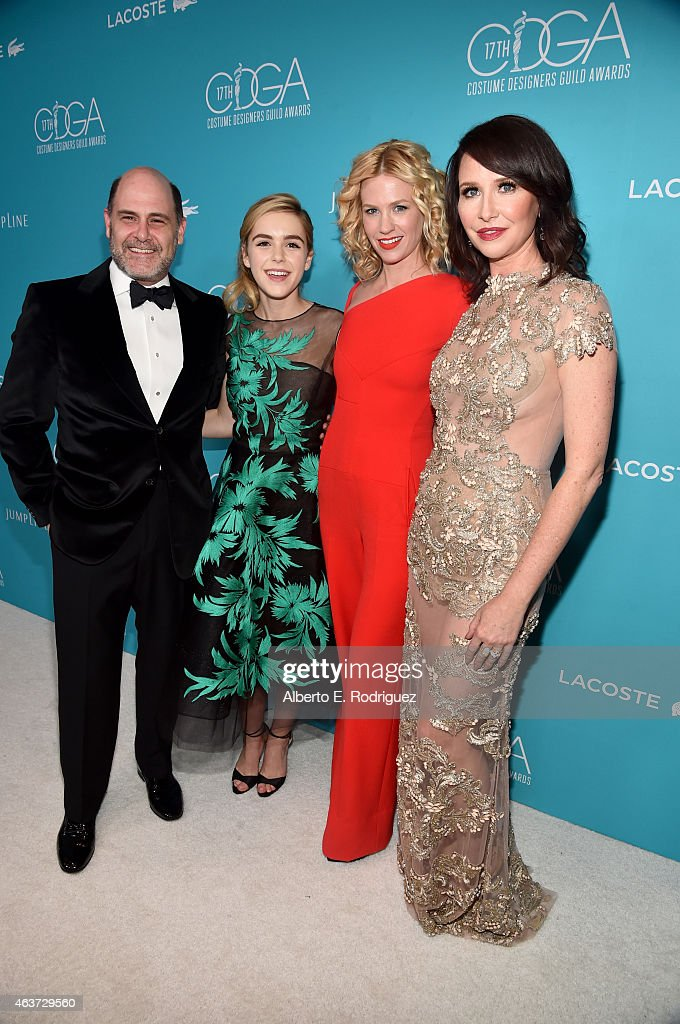 Writer/producer Matthew Weiner, actresses Kiernan Shipka, January Jones and costume designer Janie Bryant attend the 17th Costume Designers Guild Awards with presenting sponsor Lacoste at The Beverly Hilton Hotel on February 17, 2015 in Beverly Hills, California.