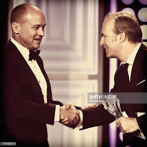 "Writer-producer Mike Judge accepts the Best Comedy Series award for ""Silicon Valley"" from actor Bob Odenkirk onstage at the 5th Annual Critics'..."