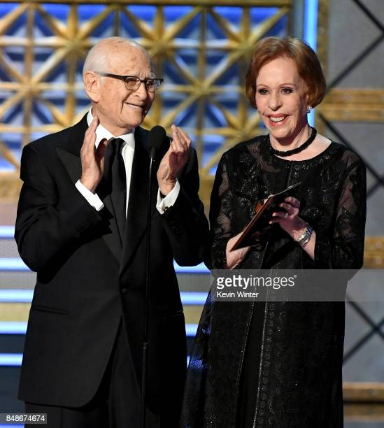 Writer/producer Norman Lear and actor Carol Burnett speak onstage during the 69th Annual Primetime Emmy Awards at Microsoft Theater on September 17...