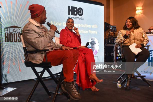 Writer/producer Prentice Penny actress Issa Rae and Moderator Bevy Smith speak on a panel at The Blackhouse Foundation's A Lowkey Conversation With...