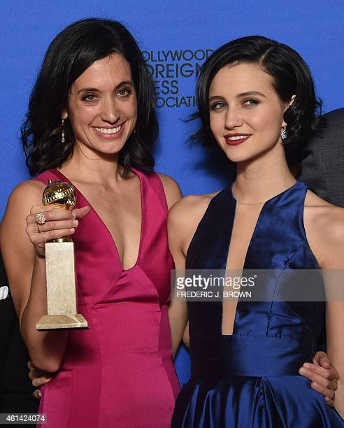 Writer/producer Sarah Treem and actress Julia Goldani Telles winners of the Best Drama Series Award for 'The Affair' pose in the press at the 72nd...