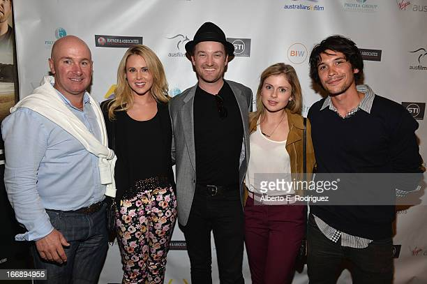 Writer/producer Scott Didier actress Anna Hutchison writer/director Richard Gray actress Rose McIver and actor Bob Morley attend Australians In...