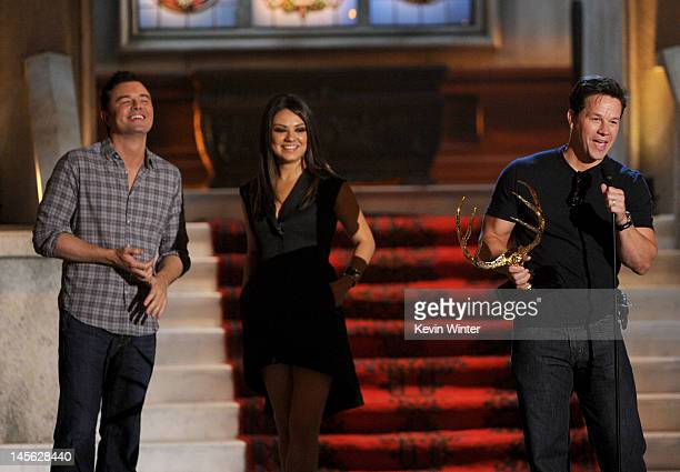 Writer/producer Seth MacFarlane and actress Mila Kunis present actor Mark Wahlberg with the award for Best Fight Scene onstage during Spike TV's 6th...