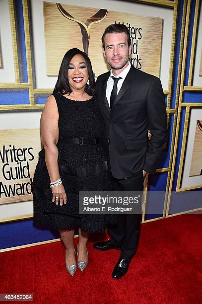 Writer/producer Shonda Rhimes and actor Scott Foley attend the 2015 Writers Guild Awards L.A. Ceremony at the Hyatt Regency Century Plaza on February...