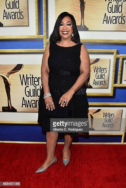 Writer/producer Shonda Rhimes attends the 2015 Writers Guild Awards L.A. Ceremony at the Hyatt Regency Century Plaza on February 14, 2015 in Century...