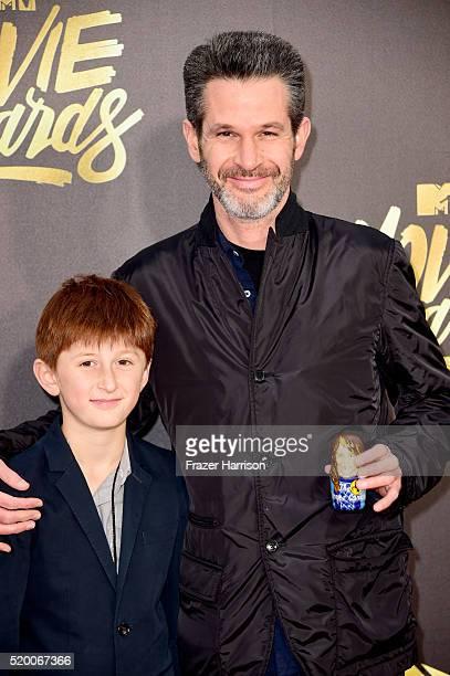 Writer/producer Simon Kinberg and son attend the 2016 MTV Movie Awards at Warner Bros Studios on April 9 2016 in Burbank California MTV Movie Awards...