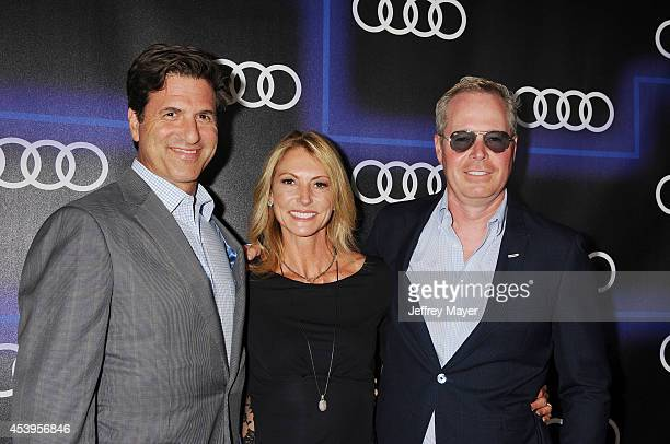 Writer/producer Steven Levitan Krista Levitan and guest arrive at the Audi Emmy Week Celebration at Cecconi's Restaurant on August 21 2014 in Los...
