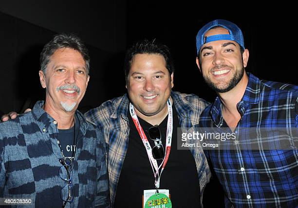 Writer/producer Tim Kring actors Greg Grunberg and Zachary Levi pose at the 'Heroes Reborn' exclusive extended trailer and panel during ComicCon...