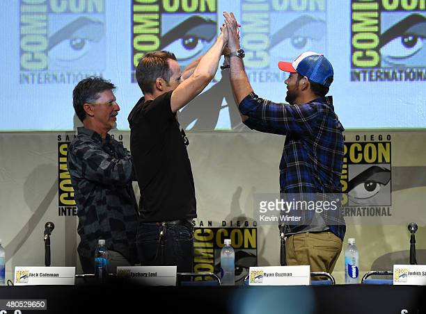 Writer/producer Tim Kring actors Jack Coleman and Zachary Levi greet onstage at the Heroes Reborn exclusive extended trailer and panel during...