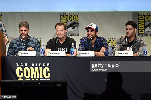 Writer/producer Tim Kring actors Jack Coleman Zachary Levi and Ryan Guzman speak onstage at the 'Heroes Reborn' exclusive extended trailer and panel...