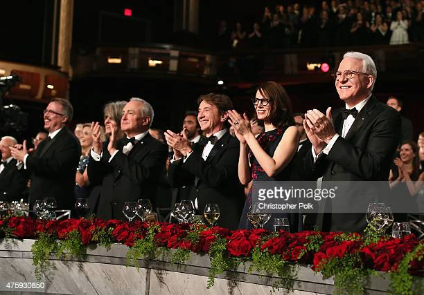 Writer/producer Vince Gilligan actress Diane Keaton producer Lorne Michaels actor Martin Short Anne Stringfield and honoree Steve Martin attend the...