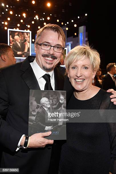 Writer/producer Vince Gilligan and producer/director Holly Rice pose in the audience during the American Film Institute's 44th Life Achievement Award...