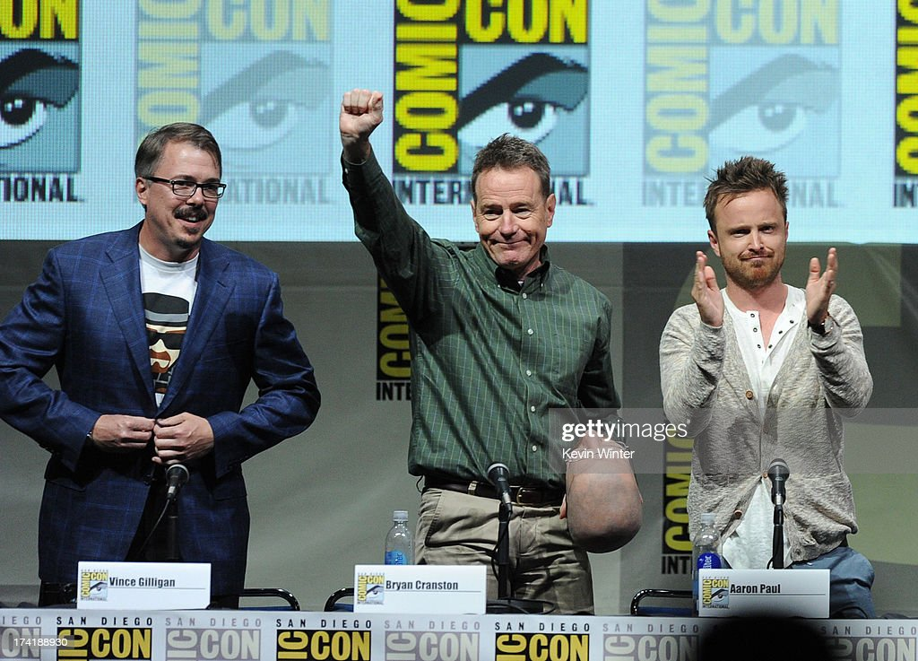 Writer/producer Vince Gilligan, Bryan Cranston, and Aaron Paul speak onstage at the 'Breaking Bad' panel during Comic-Con International 2013 at San Diego Convention Center on July 21, 2013 in San Diego, California.