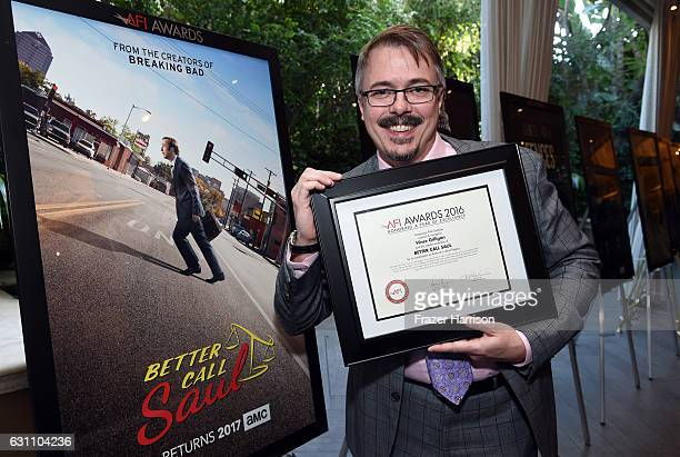 Writer/producer Vince Gilligan poses with award during the 17th annual AFI Awards at Four Seasons Los Angeles at Beverly Hills on January 6 2017 in...