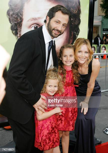 Writer/producer/director Judd Apatow his daughters Iris and Maude and his wife actress Leslie Mann pose at the premiere of Universal Pictures'...