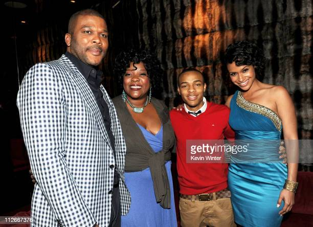 Writer/producer/director/actor Tyler Perry actors Loretta Devine Shad Bow Wow Moss and Shannon Kane pose at the after party for the screening of...