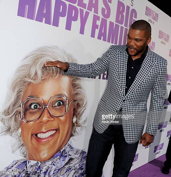 Writer/producer/director/actor Tyler Perry arrives at a screening of Lionsgate Films' Tyler Perry's Madea's Big Happy Family at the Cinerama Dome...