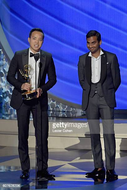 Writer/producers Alan Yang and Aziz Ansari accept the Outstanding Writing for a Comedy Series award for the 'Master of None' episode 'Parents'...