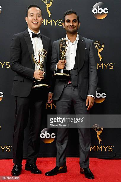 Writer/producers Alan Yang and Aziz Ansari, winners of the Oustanding Writing for a Comedy Series award for the 'Master of None' episode 'Parents,'...