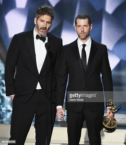 Writer/producers David Benioff and DB Weiss accept Outstanding Writing for a Drama Series for 'Game of Thrones' episode 'Battle of the Bastards'...