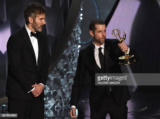 Writer/producers David Benioff and DB Weiss accept the Outstanding Writing for a Drama Series for 'Game of Thrones' episode Battle of the Bastards...