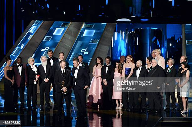 Writer/producers David Benioff and DB Weiss with cast and crew accept Outstanding Drama Series award for 'Game of Thrones' onstage during the 67th...