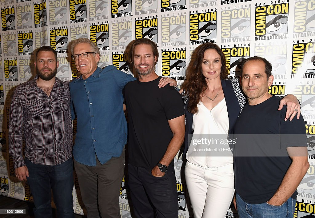 Writer/producers Ryan Condal, Carlton Cuse, actors Josh Holloway, Sarah Wayne Callies and Peter Jacobson attend the 'Colony' press room during Comic-Con International 2015 at the Hilton Bayfront on July 10, 2015 in San Diego, California.