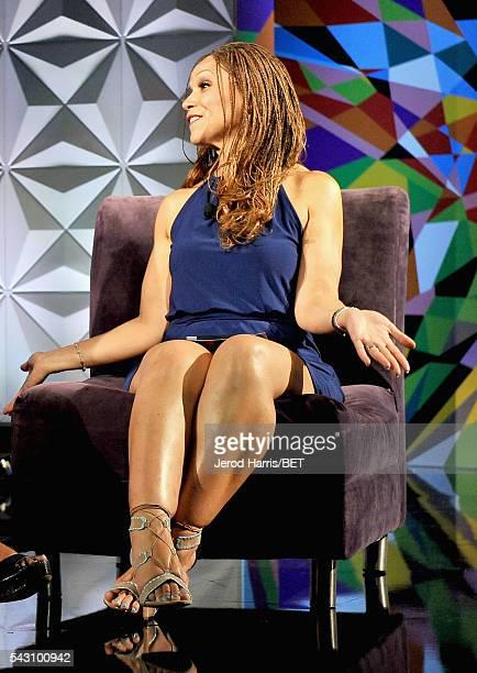 Writer/professor Melissa HarrisPerry speaks onstage during the Genius Talks sponsored by ATT during the 2016 BET Experience on June 25 2016 in Los...