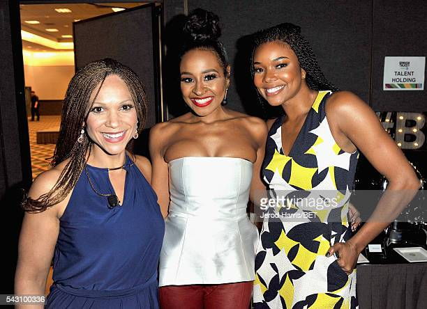 Writer/professor Melissa HarrisPerry TV personality Janell Snowden and actress Gabrielle Union pose during the Genius Talks sponsored by ATT during...
