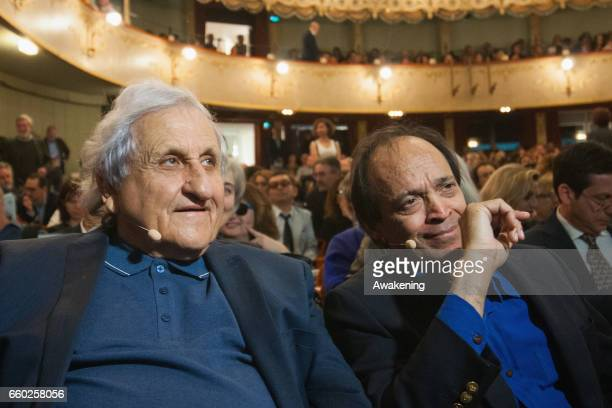 Writers Abraham B. Yehoshua and Vikram Seth attend the opening ceremony of 'Incroci di Civilta' the Venice Literary Festival on March 29, 2017 in...