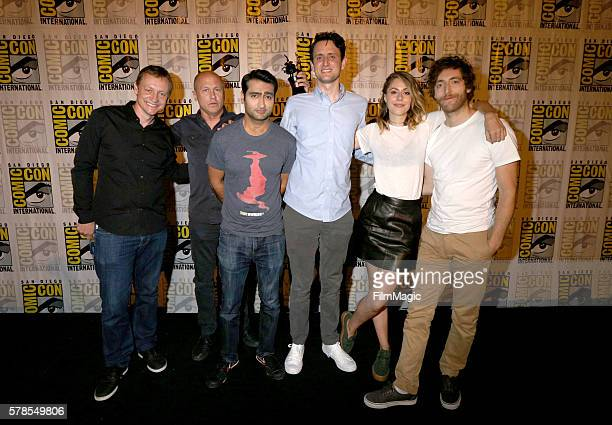 Writers Alec Berg and Mike Judge Actors Kumail Nanjiani Zach Woods Amanda Crew and Thomas Middleditch attend HBO's Silicon Valley Panel during...