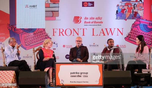 Writers and Authors Pico Iyer Linda SpaldingJeet Thayil Abubakar Adam Ibrahim and Charmaine Craig speaks during the Jaipur Literature Festival 2018...