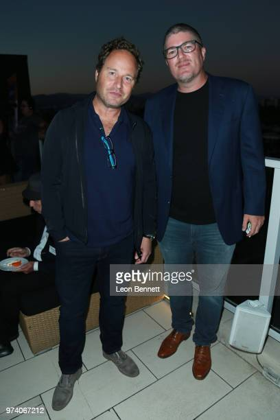 Writers Anders Bard and Brook McLaren attend Writers Guild Of America West Hosts Behind The Screen Summer 2018 Reception at The Roof On Wilshire on...