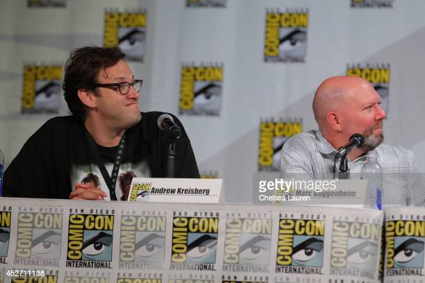 Writers Andrew Kreisberg and Marc Guggenheim attend the 'Arrow' panel on July 25 2014 in San Diego California