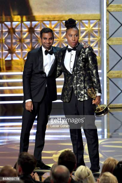 Writers Aziz Ansari and Lena Waithe accept the Outstanding Writing for a Comedy Series award for 'Master of None' onstage during the 69th Annual...