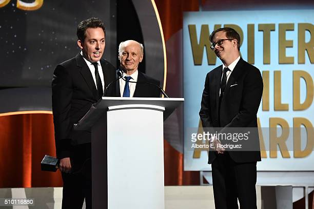 Writers Ben Nedivi Bob DeLaurentis and Matt Wolpert accept the Adapted Long Form award for 'Fargo' onstage on stage during the 2016 Writers Guild...