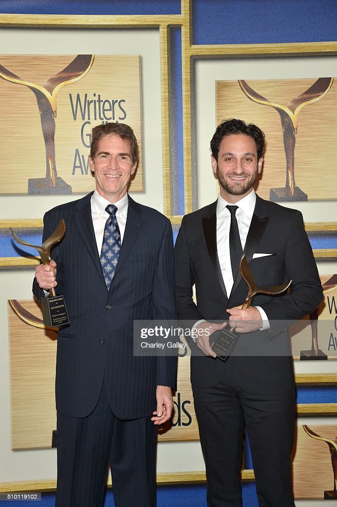 Writers Chip Johannessen (L) and Seth Fisher, winners of the award for Outstanding Writing Original Long Form for 'Saints & Strangers,' pose in the Press Room during the 2016 Writers Guild Awards at the Hyatt Regency Century Plaza on February 13, 2016 in Los Angeles, California.