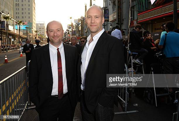Writers Christopher Markus and Stephen McFeely arrive at the premiere of Paramount Pictures' Pain Gain at TCL Chinese Theatre on April 22 2013 in...