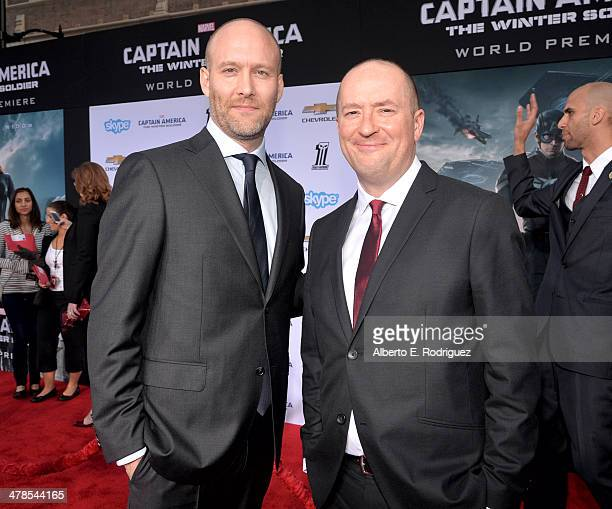 Writers Christopher Markus and Stephen McFeely attend Marvel's Captain America The Winter Soldier premiere at the El Capitan Theatre on March 13 2014...