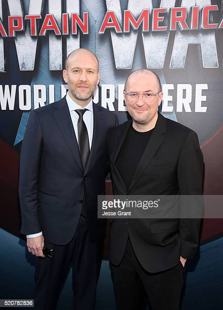 Writers Christopher Markus and Stephen McFeely attend The World Premiere of Marvel's Captain America Civil War at Dolby Theatre on April 12 2016 in...
