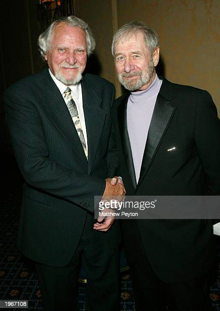 Writers Clive Cussler and Evan Hunter aka Ed McBain attend the Mystery Writers of America 57th Annual Edgar Awards at the Grand Hyatt Hotel May 1...