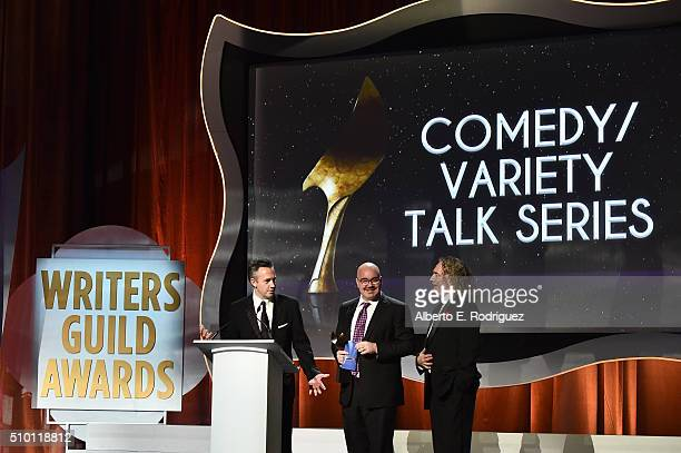 Writers Danny Vermont Matt Gunn and Adam Felber recipients of the award for Outstanding Writing Comedy/Variety Talk Series for 'Real Time with Bill...